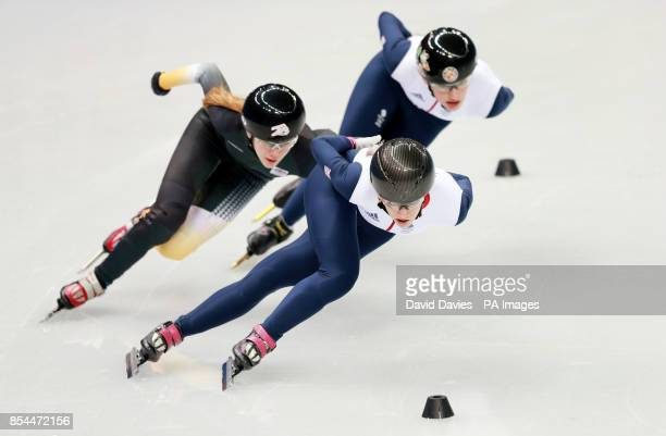 Great Britain's Elise Christie leads during a training Session in the Iceberg Skating Palace during the 2014 Sochi Olympic Games in Sochi Russia