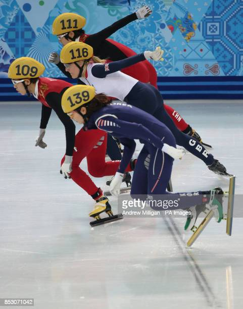 Great Britain's Elise Christie starts her 1000m Short Track Semi Final at the Iceberg Skating Palace during the 2014 Sochi Olympic Games in Sochi...