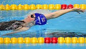 Great Britain's Elizabeth Simmonds competes in the preliminary heats of the women's 200m backstroke swimming event at the 2015 FINA World...