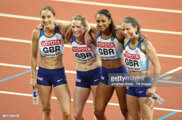 Great Britain's Emily Diamond Eilidh Doyle Laviai Nielsen and Zoey Clark celebrate taking silver in the Women's 4x400m Final during day ten of the...