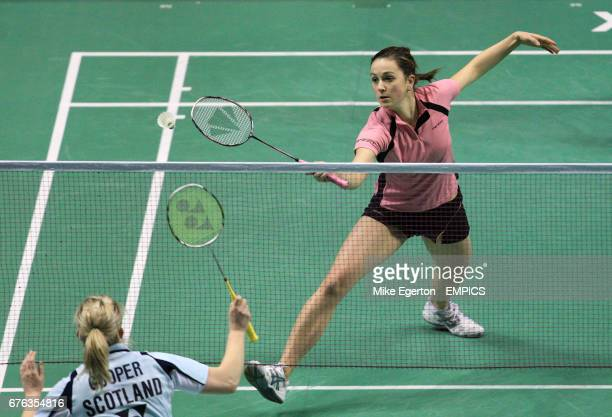 Great Britain's Emma Mason and Andrew Ellis during their match with Britain's Jillie Cooper and Chris Langridge