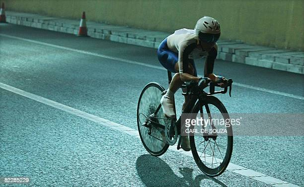 Great Britain's Emma Pooley competes in the women's Individual Time Trial cycling event during the 2008 Beijing Olympic Games near the Great Wall in...