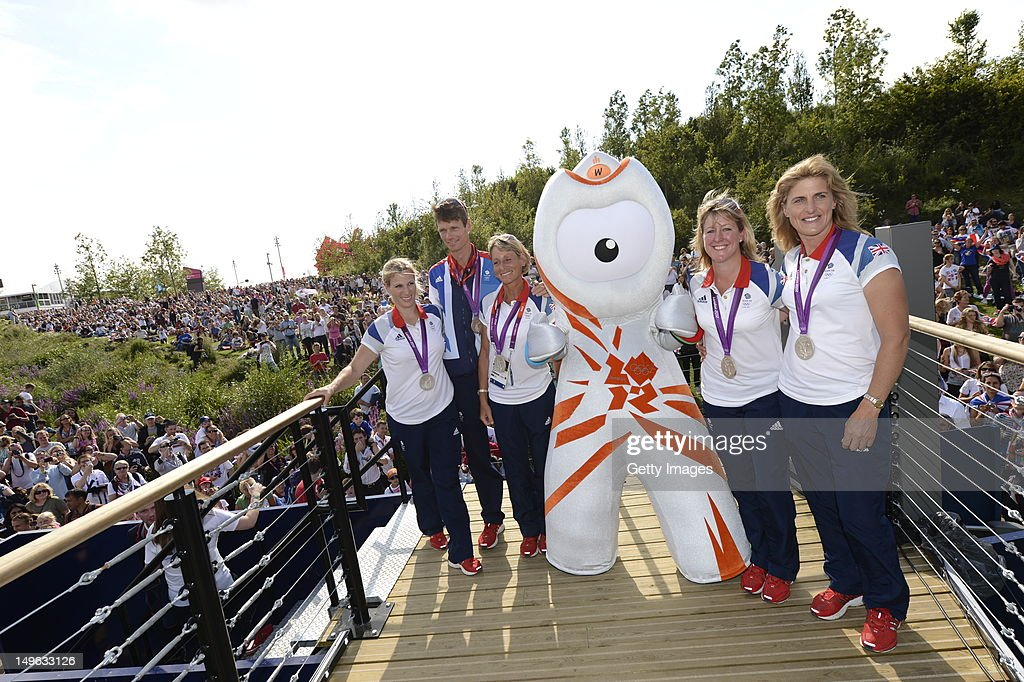Great Britain's Eventing Team (L-R) <a gi-track='captionPersonalityLinkClicked' href=/galleries/search?phrase=Mary+King&family=editorial&specificpeople=2183214 ng-click='$event.stopPropagation()'>Mary King</a>, <a gi-track='captionPersonalityLinkClicked' href=/galleries/search?phrase=Nicola+Wilson&family=editorial&specificpeople=4278375 ng-click='$event.stopPropagation()'>Nicola Wilson</a>, <a gi-track='captionPersonalityLinkClicked' href=/galleries/search?phrase=William+Fox-Pitt&family=editorial&specificpeople=647065 ng-click='$event.stopPropagation()'>William Fox-Pitt</a>, <a gi-track='captionPersonalityLinkClicked' href=/galleries/search?phrase=Kristina+Cook+-+Equestrian&family=editorial&specificpeople=4437186 ng-click='$event.stopPropagation()'>Kristina Cook</a> and <a gi-track='captionPersonalityLinkClicked' href=/galleries/search?phrase=Zara+Phillips&family=editorial&specificpeople=161323 ng-click='$event.stopPropagation()'>Zara Phillips</a> show off their silver medals at Park Live presented by British Airways on day 5 of the London 2012 XXX Olympic Games on August 1, 2012 in London, United Kingdon. The parkland area in the Olympic Park offers a dedicated area for fans with giant LED screens and a BA Stage where athletes are interviewed. Visitors are welcomed by BA Lawn Hosts who are on hand to look after the 10,000 daily visitors. The dedicated area for fans expects up to 10,000 daily visitors who can watch live action on the giant LED screens and see the athletes interviewed on the BA Stage.