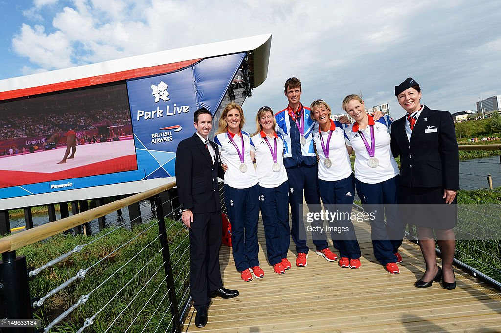 Great Britain's Eventing Team (L-R) <a gi-track='captionPersonalityLinkClicked' href=/galleries/search?phrase=Mary+King&family=editorial&specificpeople=2183214 ng-click='$event.stopPropagation()'>Mary King</a>, <a gi-track='captionPersonalityLinkClicked' href=/galleries/search?phrase=Nicola+Wilson&family=editorial&specificpeople=4278375 ng-click='$event.stopPropagation()'>Nicola Wilson</a>, <a gi-track='captionPersonalityLinkClicked' href=/galleries/search?phrase=William+Fox-Pitt&family=editorial&specificpeople=647065 ng-click='$event.stopPropagation()'>William Fox-Pitt</a>, <a gi-track='captionPersonalityLinkClicked' href=/galleries/search?phrase=Kristina+Cook&family=editorial&specificpeople=4437186 ng-click='$event.stopPropagation()'>Kristina Cook</a> and <a gi-track='captionPersonalityLinkClicked' href=/galleries/search?phrase=Zara+Phillips&family=editorial&specificpeople=161323 ng-click='$event.stopPropagation()'>Zara Phillips</a> show off their silver medals at Park Live presented by British Airways on day 5 of the London 2012 XXX Olympic Games on August 1, 2012 in London, United Kingdon. The parkland area in the Olympic Park offers a dedicated area for fans with giant LED screens and a BA Stage where athletes are interviewed. Visitors are welcomed by BA Lawn Hosts who are on hand to look after the 10,000 daily visitors. The dedicated area for fans expects up to 10,000 daily visitors who can watch live action on the giant LED screens and see the athletes interviewed on the BA Stage.