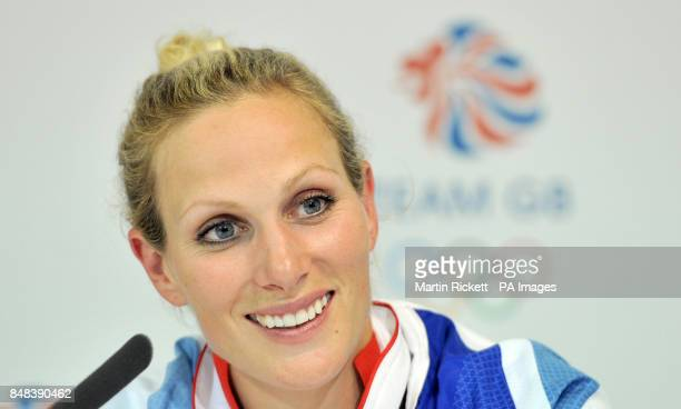 Great Britain's Eventing Team member Zara Phillips during a press conference after winning a Silver Medal at BOA House Stratford London on the fourth...