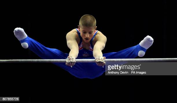 Great Britain's Frank Baines on the high bar Junior Qualification during the European Artistic Championships at the NIA Birmingham