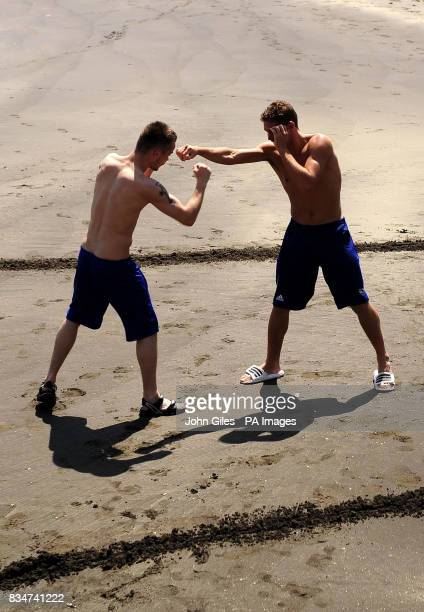Great Britain's Frankie Gavin a lightweight and Billy Joe Saunders train at the Westin Resort Macau China