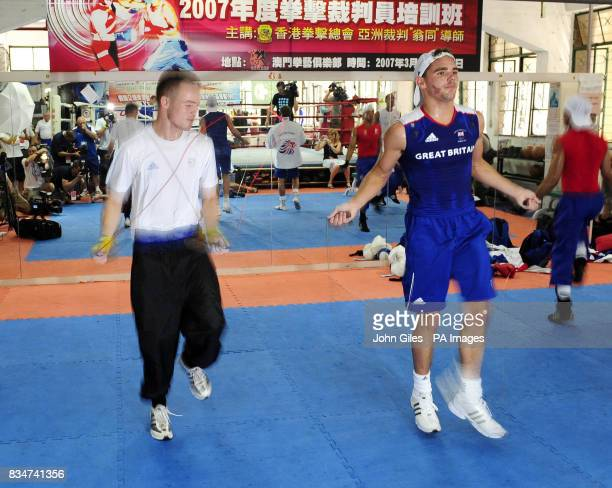 Great Britain's Frankie Gavin a lightweight and Billy Joe Saunders train in Macau China