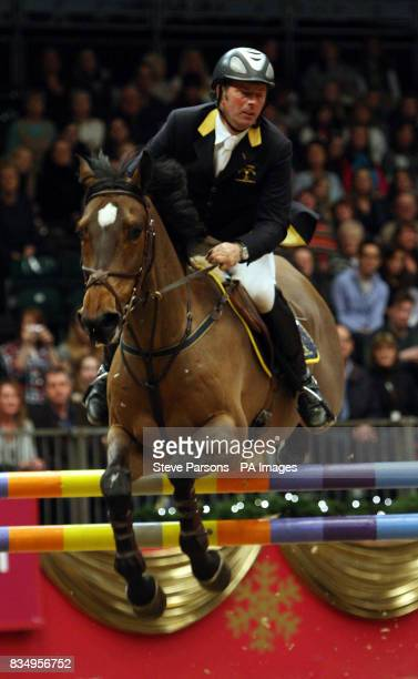 Great Britain's Geoff Luckett riding Brickfield Boy wins the Tom Hudson Eraser Stakes during the London International Horse Show at Olympia London
