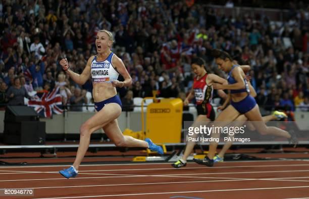 Great Britain's Georgie Hermitage celebrates winning the 100m T37 during day nine of the 2017 World Para Athletics Championships at London Stadium