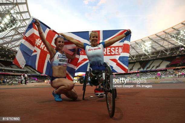 Great Britain's Georgina Hermitage and Great Britain's Hannah Cockroft celebrate during day seven of the 2017 World Para Athletics Championships at...