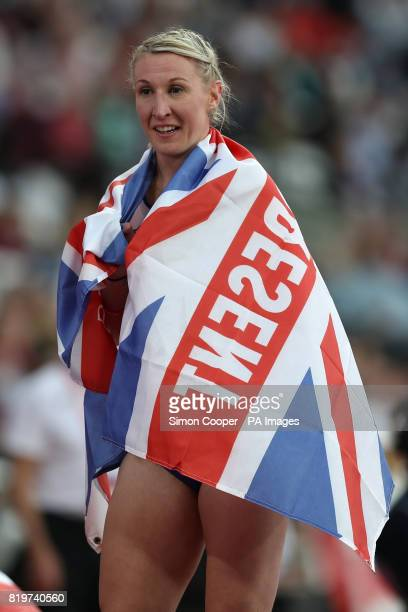 Great Britain's Georgina Hermitage reacts after winning and setting a new world record in the Women's 400m T37 Final during day seven of the 2017...