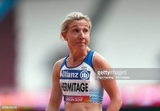 Great Britain's Georgina Hermitage wins the Women's 100m T37 Round 1 Heat 1 during day nine of the 2017 World Para Athletics Championships at London...