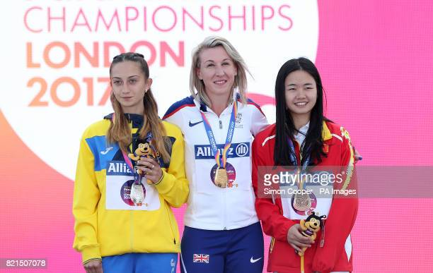 Great Britain's Georgina Hermitage with her gold medal with Ukraine's Natalia Kobzar and China's Fenfen Jiang after the Women's 400m T37 Final