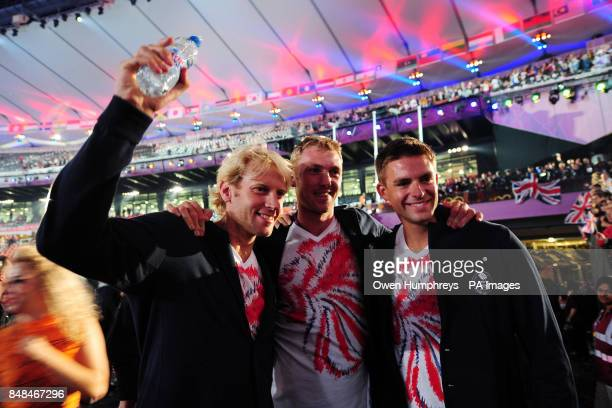 Great Britain's Gold medal winning rowers Andrew TriggsHodge Alex Gregory and Peter Reed during the Olympic Games Closing Ceremony at the Olympic...