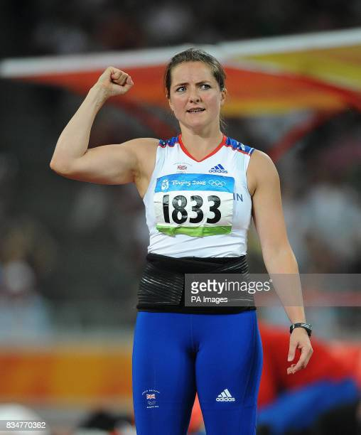 Great Britain's Goldie Sayers celebrates setting a new national record in her first throw in the Women's Javelin Final at the National Stadium in...