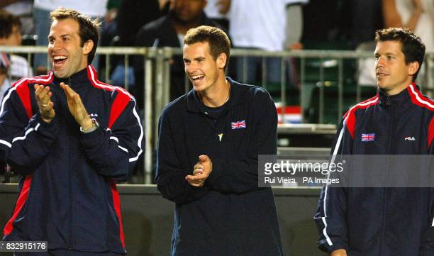 Great Britain's Greg Rusedski Andy Murray and Tim Henman support Jamie Murray during his match against Netherlands' Robin Haase in the Davis Cup...