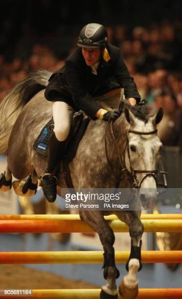 Great Britain's Guy Williams rides Duhkan in the Martin Collins Eraser Stakes during the London International Horse Show at the Olympia Exhibition...
