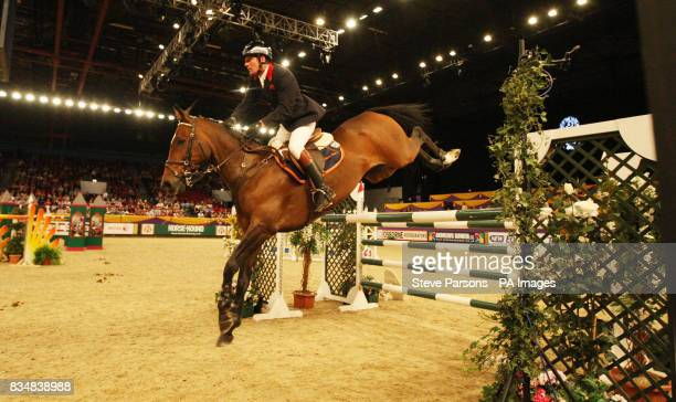 Great Britain's Guy Williams riding Torinto Van De Middelstone competes in the Thomas Bates and Son Classic as the International Show jumping begins...