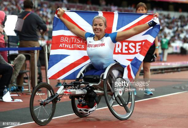 Great Britain's Hannah Cockroft celebrates winning the Women's 400m T34 Final during day seven of the 2017 World Para Athletics Championships at...