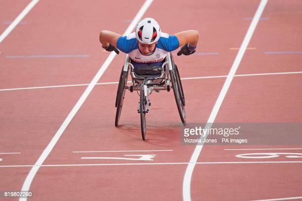 Great Britain's Hannah Cockroft wins the Women's 400m T34 Final during day seven of the 2017 World Para Athletics Championships at London Stadium