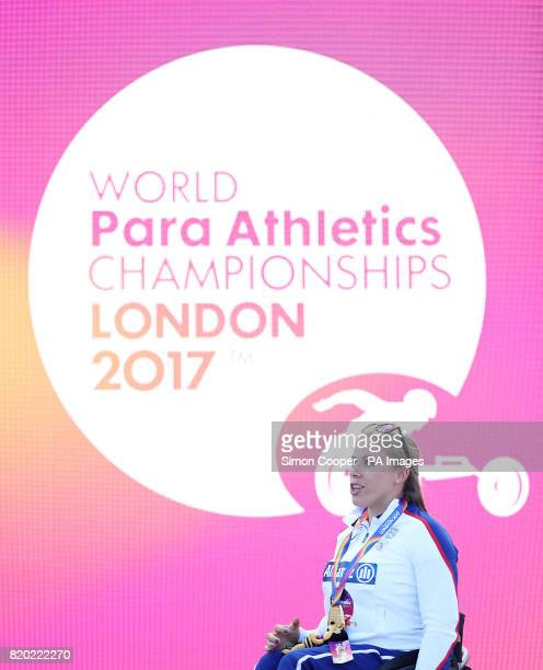 Great Britain's Hannah Cockroft with her gold medal after the Women's 400m T34 Final during day eight of the 2017 World Para Athletics Championships...
