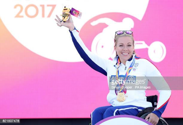 Great Britain's Hannah Cockroft with her gold medal after the Women's 400m T34 Final