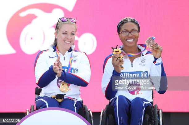 Great Britain's Hannah Cockroft with her gold medal and compatriot Kare Adenegan with her bronze after the Women's 400m T34 Final during day eight of...
