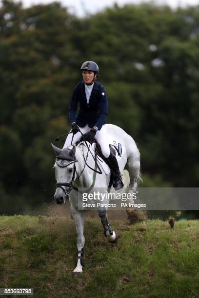 Great Britain's Harriet Nuttall riding Silver Lift competes in the Bunn Leisure Speed Derby during day four of the Hickstead Derby at The All England...
