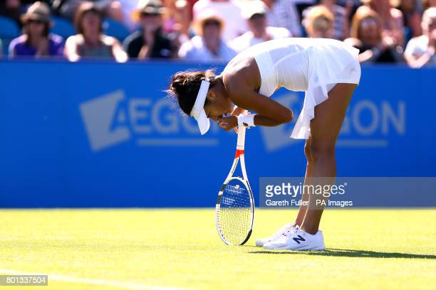 Great Britain's Heather Watson celebrates a point during her match against Slovakia's Dominika Cibulkova during day four of the AEGON International...