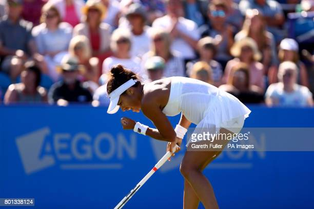 Great Britain's Heather Watson celebrates during her match against Slovakia's Dominika Cibulkova during day four of the AEGON International at...