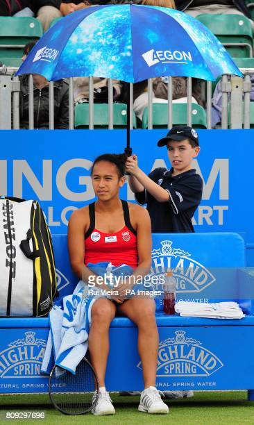 Great Britain's Heather Watson during her match with Japan's Misaki Doi during day three of the AEGON Classic at Edgbaston Priory Club Birmingham