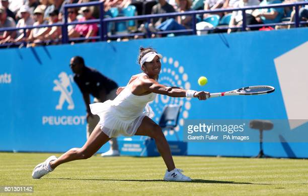 Great Britain's Heather Watson in action against Slovakia's Dominika Cibulkova during day four of the AEGON International at Devonshire Park...