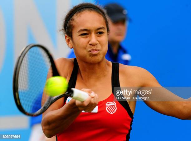 Great Britain's Heather Watson in action in her match with Japan's Misaki Doi during day three of the AEGON Classic at Edgbaston Priory Club...