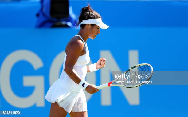 Great Britain's Heather Watson reacts during her match against Slovakia's Dominika Cibulkova during day four of the AEGON International at Devonshire...