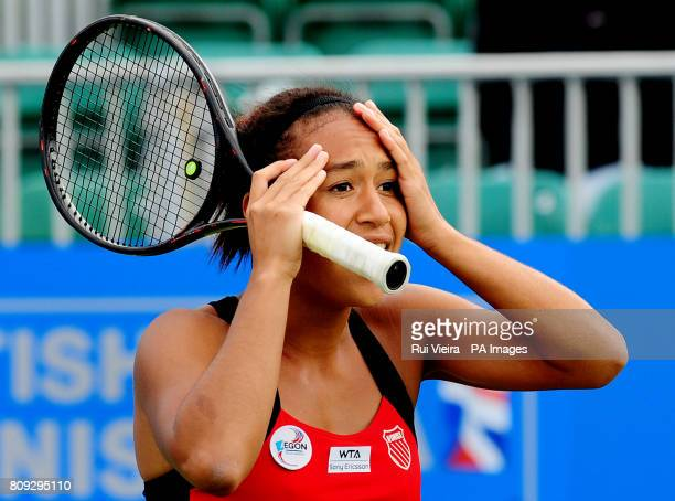 Great Britain's Heather Watson reacts to an umpires call in her match with Japan's Misaki Doi during day three of the AEGON Classic at Edgbaston...