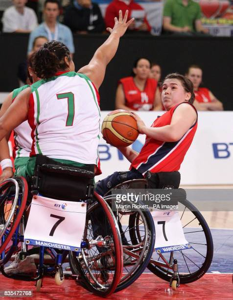Great Britain's Helen Freeman shoots over Mexico's Floralia Estrada during the Wheelchair Basketball match at the Manchester Regional Arena during...