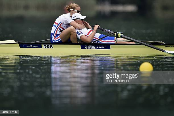 Great Britain's Helen Glover and Heather Stanning celebrate after winning the A final in the women's coxless pair on September 5 2015 in...