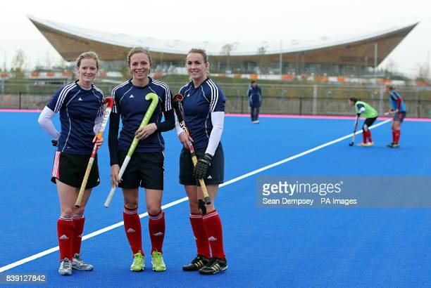 Great Britain's Helen Richardson Kate Walsh captian Laura Bartlett during the photocall unveiling the new Hockey Pitch at the Olympic Park London
