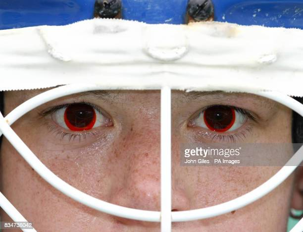 Great Britain's Hockey goal keeper Beth Storry wears red contact lenses to make it easier to see the ball in hazy conditions during a training...