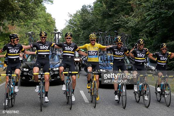 Great Britain's Ian Stannard Great Britain's Luke Rowe Great Britain's Christopher Froome wearing the overall leader's yellow jersey Netherlands'...