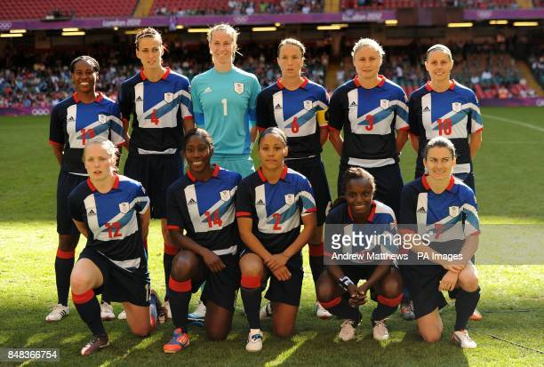 Great Britain's Ifeoma Dieke Jill Scott goalkeeper Karen Bardsley Casey Stoney Stephanie Houghton and Kelly Smith Kim Little Anita Asante Alex Scott...