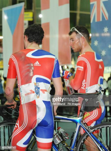 Great Britain's injured Peter Kennaugh stands with teammate Mark Cavendish during the 2009 UCI World Track Cycling Championships at the BGZ Arena...