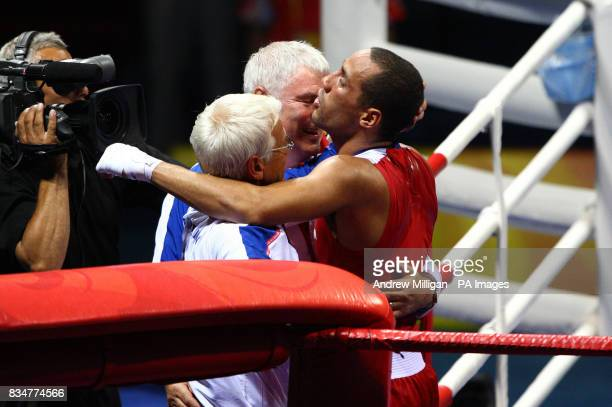 Great Britain's James Degale celebrates his victory over Cubas' Emilio Correa Bayeaux in the men's middleweight boxing final during the 2008 Beijing...
