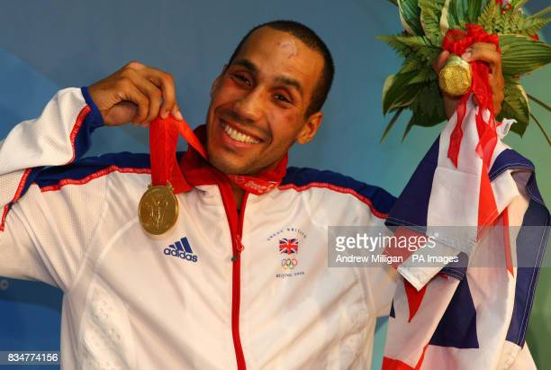 Great Britain's James Degale with his gold medal after beating Cubas' Emilio Correa Bayeaux in the men's middle boxing final at the Workers Gymnasium...