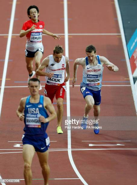 Great Britain's James Hamilton finishing third in the Men's 800m T20 Round 1 Heat 1/2 during day eight of the 2017 World Para Athletics Championships...