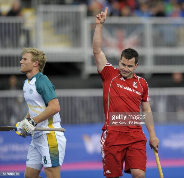 Great Britain's James Tindall celebrates scoring the opening goal against Australia during the Visa International Invitational Hockey Tournament at...