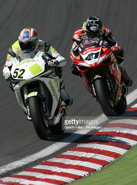 Great Britain's James Toseland on his way to victory chased by Noriyuki Haga during the SBK World Superbike Championship at Brands Hatch Circuit Kent