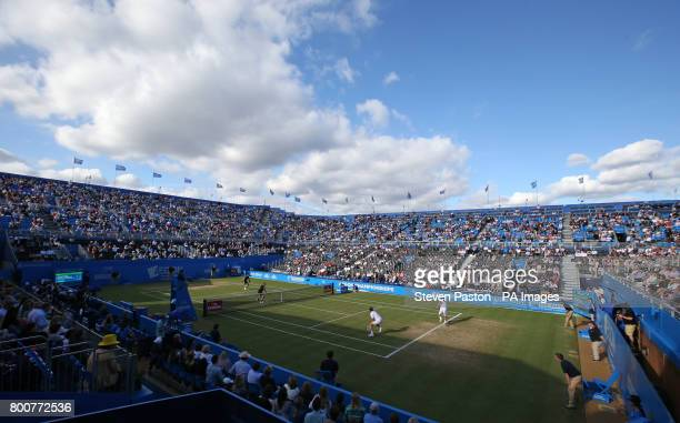 Great Britain's Jamie Murray and Brazil's Bruno Soares in action against France's Julien Benneteau and Edouard RogerVasselin during the doubles final...