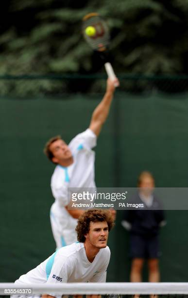 Great Britain's Jamie Murray and doubles partner Luxembourg's Gilles Muller during their match against South Africa's Jeff Coetzee and Australia's...